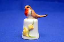 Royal Mint Classic British Birds Robin On Crocus Pottery Thimble B/117
