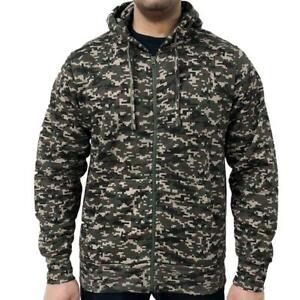 GAME Mens Army Camo hoodie Zip up sweatshirt jumper Hooded Zip up generous fit
