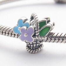 BUCKET OF FLOWERS CHARM Bead Sterling Silver.925 for European Bracelet 518