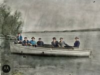 1908 Well Dressed Men in Boat Named Veda Vintage Photo Glass Plate Negative