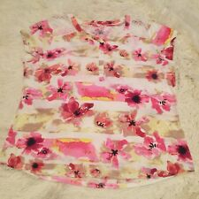 Women's HANNAH Spring Scoop Floral Henley Button Stretch Shirt - Large
