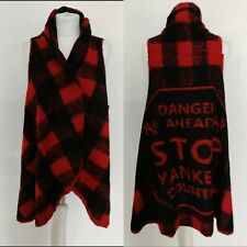 Gabry Cardigan Sleevless Red Black Check Wool Blend Spell Out Yankees 10 12 S M