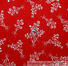 BonEful Fabric FQ Cotton Quilt White Red Xmas Flower Bow Small Toile Calico Girl