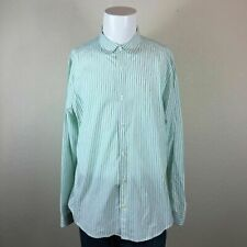 Mens Original Penguin XL White Green Striped Classic Fit Dress Shirt