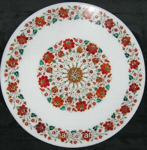 24 Inches Round Marble Center Table Top Inlay with Carnelian Stone Coffee Table