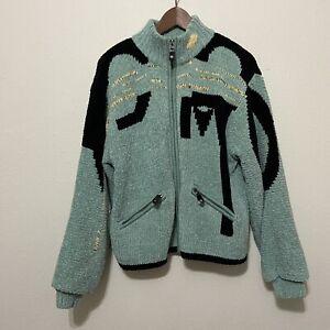 Vintage 80s Jamie Sadock Chenille Jacket geometric Large full zip golf abstract