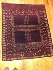 "Antique TURKMEN BOKHARA  WOOL Maroon Oriental Rug Nice! 54"" x 44"""
