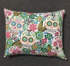"""Beautiful Handmade Fleece Floral Sugar Skull Accent - Throw Pillow 11"""" x 9"""""""