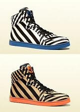$980 New Authentic Gucci Mens Zebra Print Calf Hair High-top Sneaker 353412