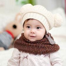 Newborn Baby Kids Girl Boy Dual Balls Warm Knitted Cap Beanie Hat Photo Prop New