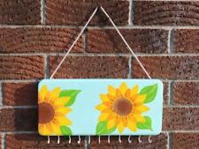 Handmade wood hand painted jewelry key dog leash holder with hooks sunflowers