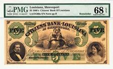 1860s' Citizens' Bank Of Louisiana $5 Pmg Superb Gem Unc. 68Epq- Wow Rare Grade!