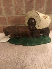 Antique Cast Iron Conestoga Covered Wagon Bookend Door Stop Oxen Pioneers