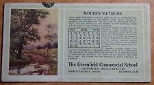 1913 Advertisement Ink Blotter For Greenfield Commercial School Massachusetts