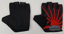 LYNX Cycle Fitness Workout Gloves Black Red Lycra Back Padded Palm Medium