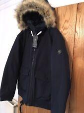 Mens Timberland Waterproof Coat Jacket Parka Navy Blue Fur Hood XXXL 3XL