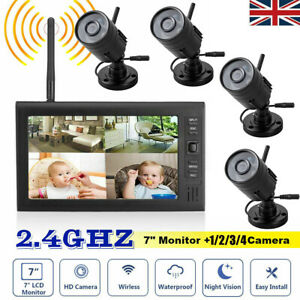 Digital 4 Wireless CCTV Camera with 7'' LCD Monitor DVR Record Home Security HOT