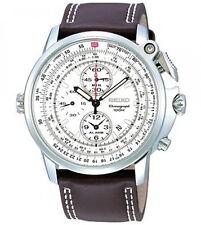 Seiko Chronograph Pilot Leather Strap Men's Watch SNAB71P1