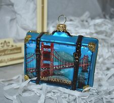 NEW IMPULS SAN FRANCISKO Glass Christmas Ornament CITY SCENES SUITCASE  Poland
