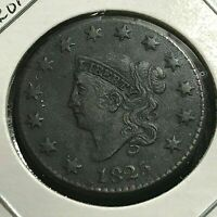 1825 CORONET  LARGE CENT XF DETAILS  COIN