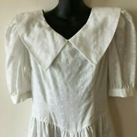Lanz Eyelet Dress Prairie Boho Confirmation Vintage 70s Women's 10