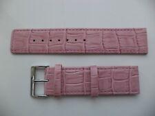 24 mm genuino cuero reloj Correa cocodrilo de Grano de Cocodrilo-Rosa claro