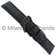 24mm deBeer Prestige Black Carbon Genuine Leather PVD Buckle Watch Band Long