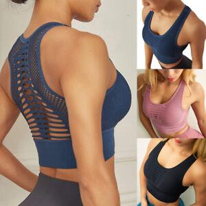 Women Mesh Padded Sports Bra Crop Tops Gym Running Yoga Fitness Shaper Vest Tops