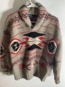 polo ralph lauren womens sweater aztec hand knit medium