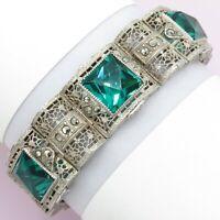 Vtg Art Deco Sterling Silver Filigree Teal Green Glass Marcasite Barrel Bracelet
