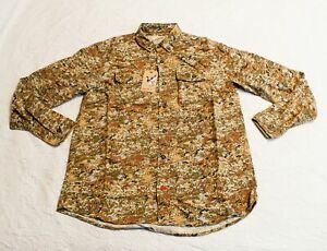 Duck Camp Men's Midweight Midland 2.0 Camo Hunting Shirt FR7 Green Large NWT