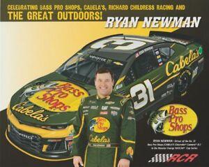 2018 Ryan Newman Bass Pro Shops Cabela's Chevy Camaro NASCAR MENCS postcard