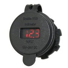 12V Car 4.2A Motorcycle Car Dual USB Power Charger Port Socket Plug Voltmeter #p