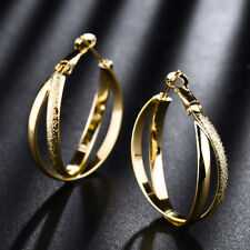 18K Yellow Gold Filled Dangle Round Ring Hoop Women Lady Banquet Party Earrings