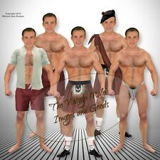 Anatomically Correct Scottish Bodybuilder Paper Doll Muscle Kilt Leather