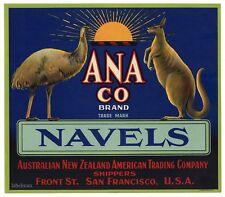 ANA CO Crate Label, Australia, Navels Kangaroo Emu * AN ORIGINAL LABEL* 241 wear
