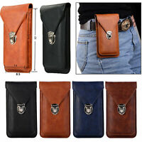 Luxury Leather Waist Belt Loop Hook Card Bag Holster Phone Holder Pouch Cover