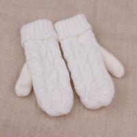 Lovely Women Wool Warm Ladies Winter Knitted Twist Gloves Mittens Accessories