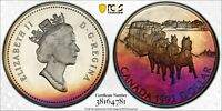 1992 CANADA SILVER DOLLAR PCGS PR68DCAM MONSTER COLOR GEM UNC PROOF TONED (DR)