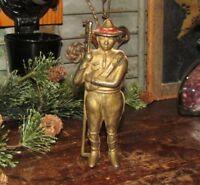 Antique Vtg 1910 Williams Cast Iron Solder Boy Scout Trooper Red Hat Band Bank