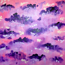 Abstraktes Gemälde auf Leinwand 1m x 1m Lila Rosa Pink Weiß
