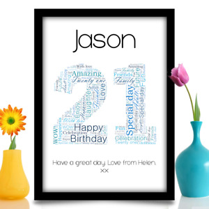 Personalised 21st Birthday gift keepsake A4 word art print Name and message
