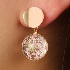 Fashion Women  Elegant Cherry Blossom Glass Flower Round Drop Dangle Earrings