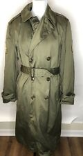 VTG US Army Green Trench Coat Wool Liner Reg Medium 1950 Korean War Era Patches