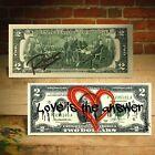 Open Heart Red Graffiti Love is the Answer Genuine $2 Bill Rency Art LTD # of 66