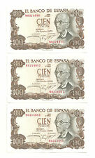 BILLETE DE 100 PESETAS DE 1970 (EBC) MANUEL DE FALLA (SERIE M) TRIO CORRELATIVO