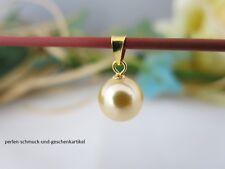 Anhänger aus Muschelkernperle in Südsee-Gold 10mm, 925er Silber vergoldet, TOP