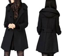 Womens Winter Wool Trench Coats Double Breasted Hooded Overcoat Slim Fit Outwear