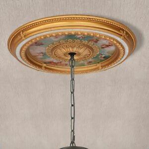 Cherubs Sky Round Chandelier Ceiling Medallion 36in