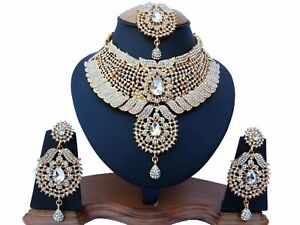Gold Plated Bridal Kundan Zerconic Bollywood Ethnic Necklace Jewelry Set ES4